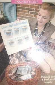 Me on the front porch with the angel pin basket